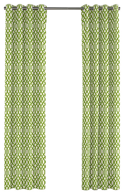 Flocked green trellis grommet curtain contemporary for Green modern curtains