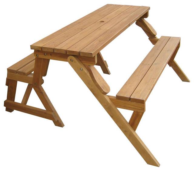 Interchangeable Picnic Table Garden Bench Contemporary Outdoor Dining Sets By Merry Products