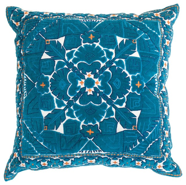 Kilim Aqua Lounge Pillow by BHD - Eclectic - Decorative Pillows - miami