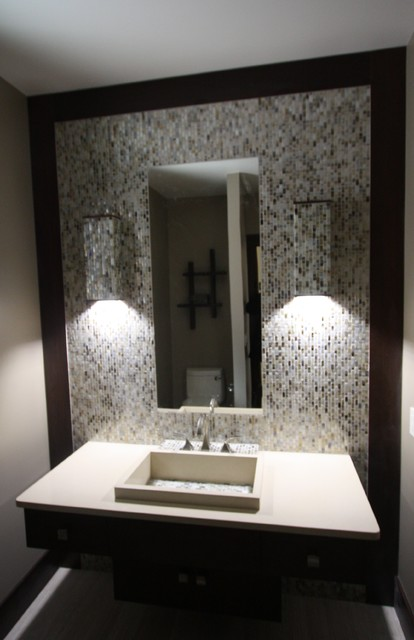 Custom Tile Wall Sconces Contemporary Powder Room