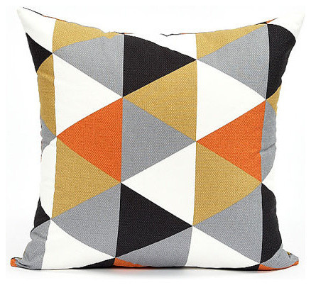Modern Pillow And Throws : Modern Black/Gray/Persimmon Triangle Pattern Throw Pillow Cover - Contemporary - Decorative ...