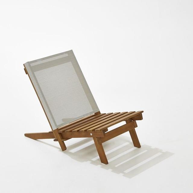 Chaise basse de plage acacia contemporain fauteuil de - Fauteuil de jardin la redoute ...