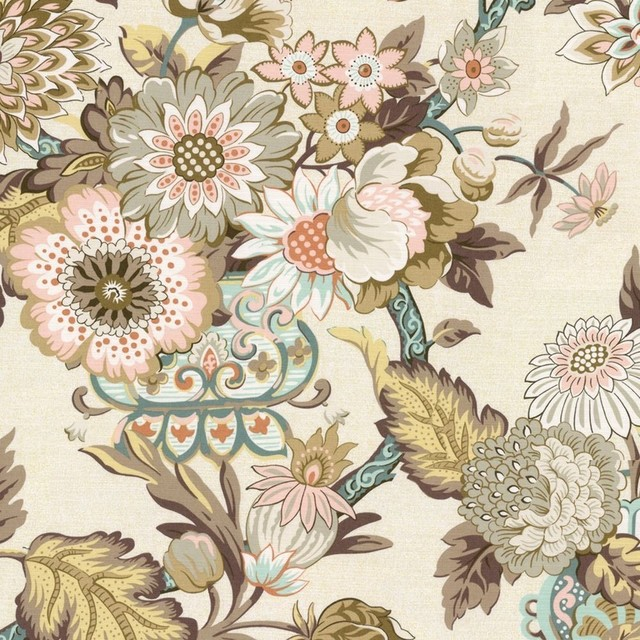 Chinoiserie Fabric Pink Aqua and Yellow Transitional