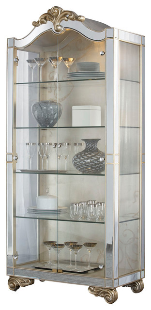 American Drew Jessica McClintock Curio Cabinet in Silver ...