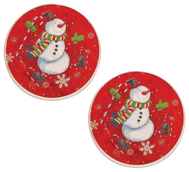 Jingle Jolly Snowman Ceramic Car Coasters Set Of 2