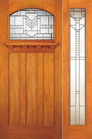 Mahogany Craftsman Style Prehung Door And Full Lite Sidelite Arts Crafts Front Doors