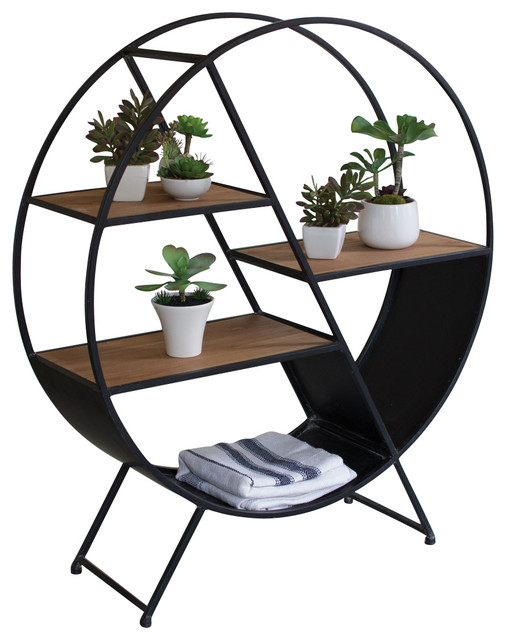 Round Iron And Wood Shelf Industrial Bookcases By