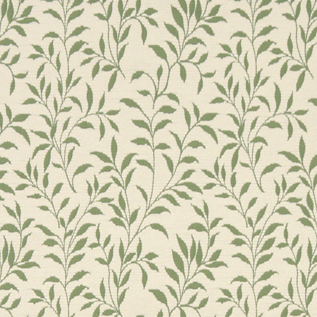 Green And Beige Floral Reversible Matelasse Upholstery