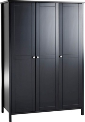 armoire 3 portes ornella noir contemporain armoire et dressing par magasins but. Black Bedroom Furniture Sets. Home Design Ideas