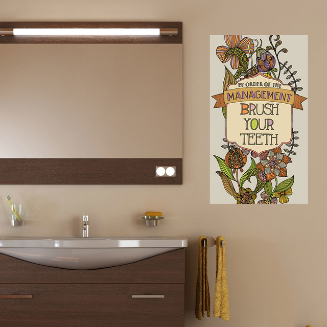 Brush Design For Wall : Brush your teeth wall sticker by valentina harper s