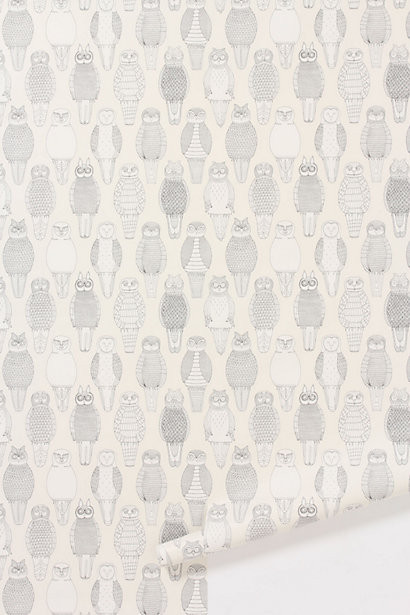 Owls of the british isles wallpaper contemporary for Anthropologie wallpaper