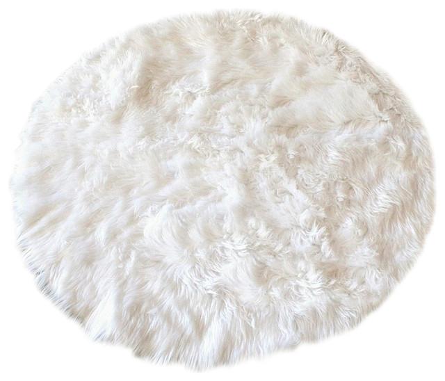 "Faux-Fur Sheepskin Rug, Creamy White, 30"""