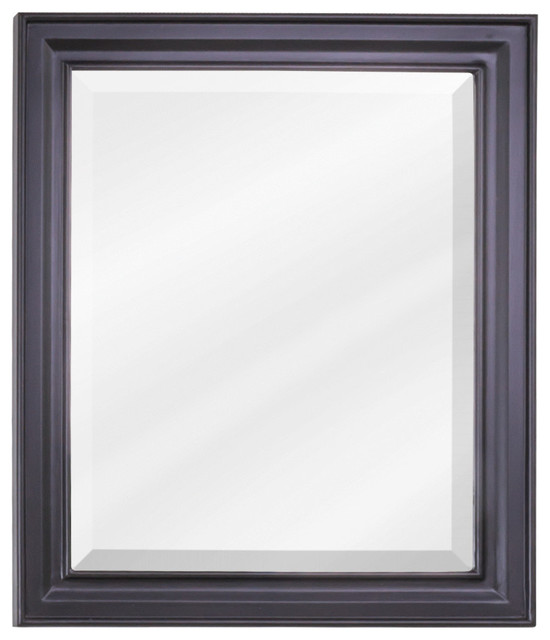Mir057 Mirror With Beveled Glass Painted Black 20 X24 Traditional Bathroom Mirrors By