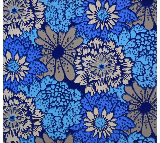 art deco bue floral wallpaper sample contemporary artwork