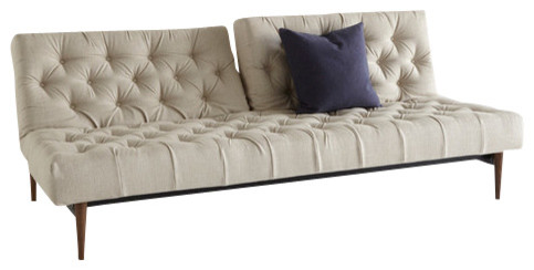 Old School Chesterfield Sofa Natural Khaki Dark Wood Transitional Sofa Beds by
