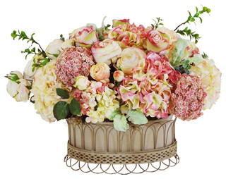 Mix Floral In French Wire Planter S - Farmhouse - Outdoor Pots And Planters - by Winward Home