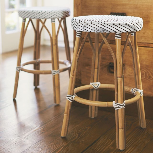 Rattan Counter Stool Eclectic Kitchen Countertops