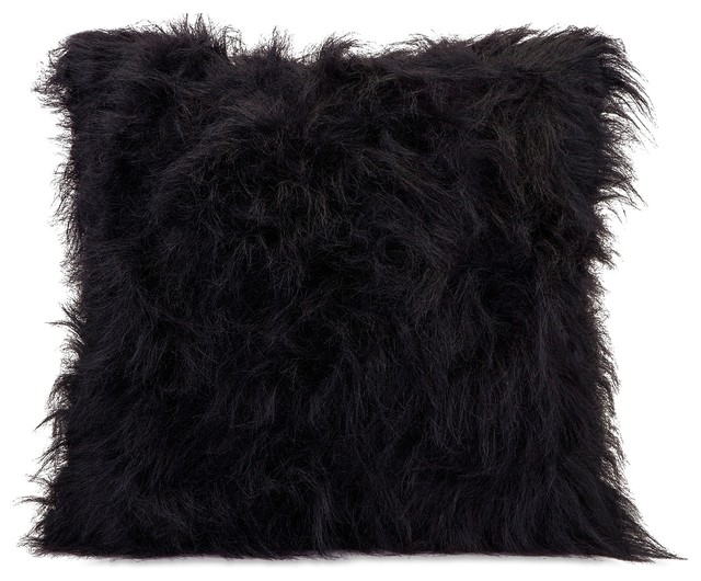 Nikki Chu Black Faux Fur Pillow contemporary-decorative-pillows