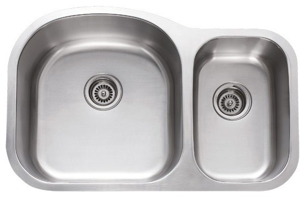 31 Inch Stainless Steel Undermount 70/30 Double Bowl Kitchen Sink - 18