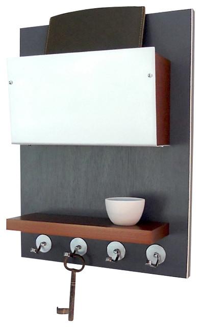 Minimal Modern Wooden Wall Mounted Device Storage Key Rack