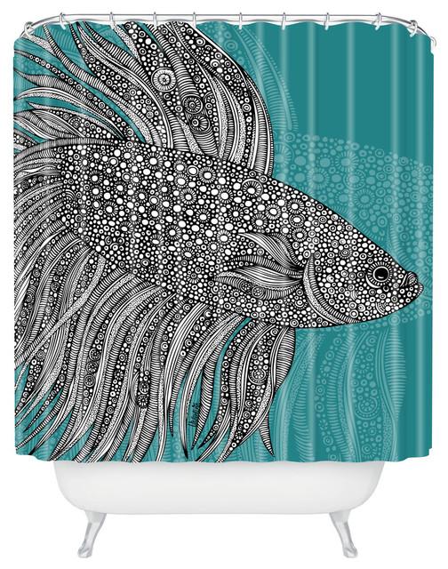 Valentina Ramos Beta Fish Shower Curtain tropical-shower-curtains