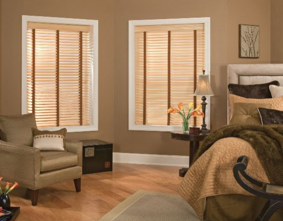 faux wood blinds contemporary bedroom brown elegant master bedroom contemporary. Black Bedroom Furniture Sets. Home Design Ideas