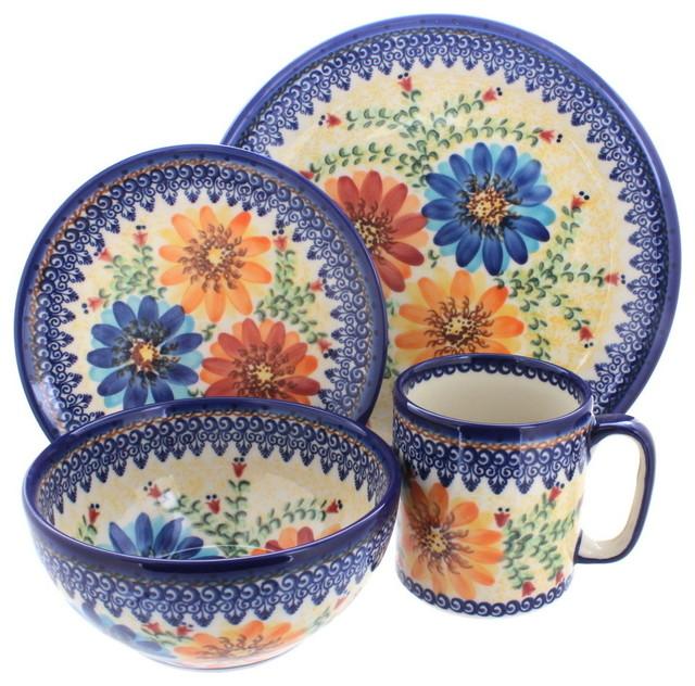 Mediterranean Style Dinnerware: Autumn Burst 4-Piece Dinner Set