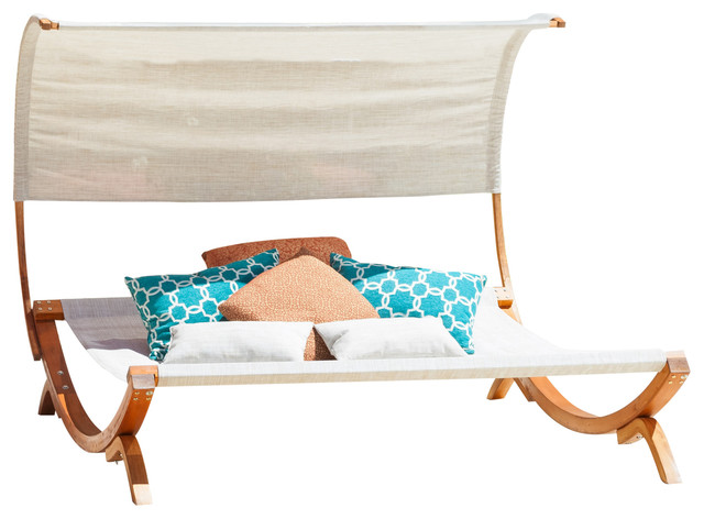 Rosalie outdoor patio chaise lounge sunbed and canopy for Chaise lounge canopy