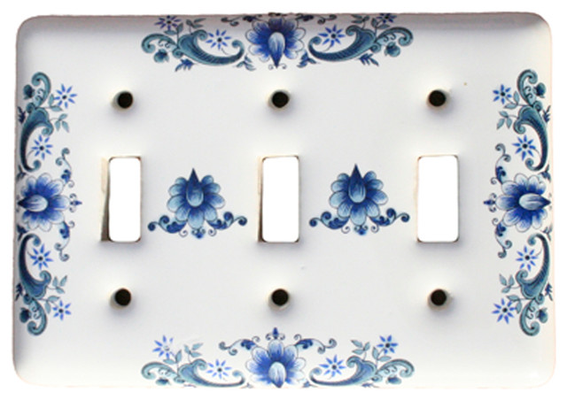 Switch Plate White Porcelain 3 Toggle Delft Blue - Traditional - Switch Plates And Outlet Covers ...