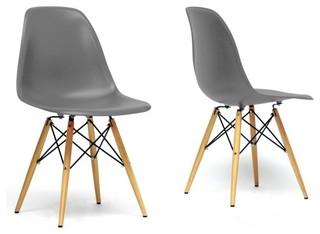 Baxton studio azzo gray plastic mid century modern shell chair set of
