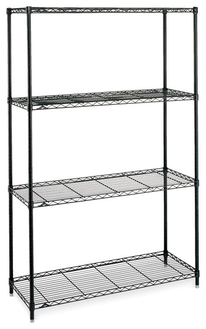 heavy duty wire shelving in black four shelf. Black Bedroom Furniture Sets. Home Design Ideas