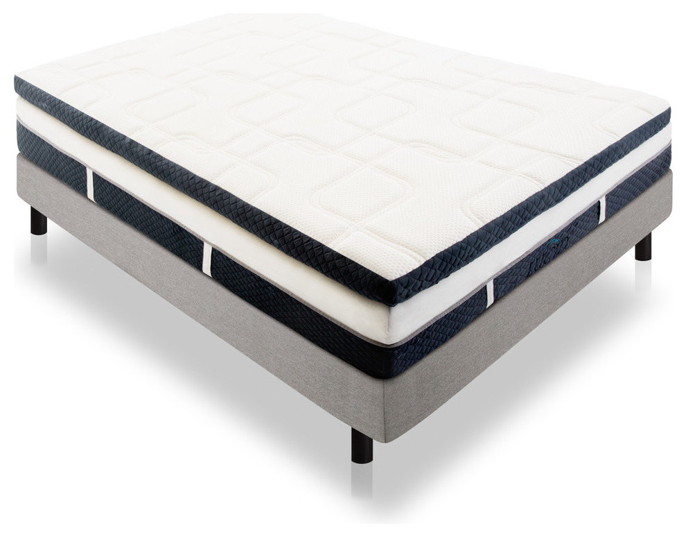 "Lucid 14"" Plush Memory Foam Mattress, Four-Layer, King"