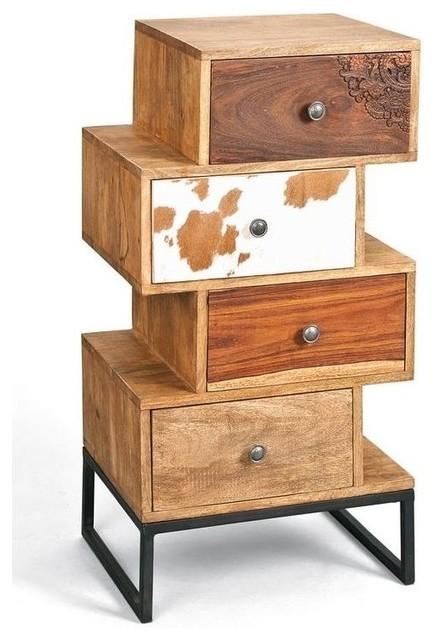 commode sua 4 tiroirs en bois de manguier recycle. Black Bedroom Furniture Sets. Home Design Ideas