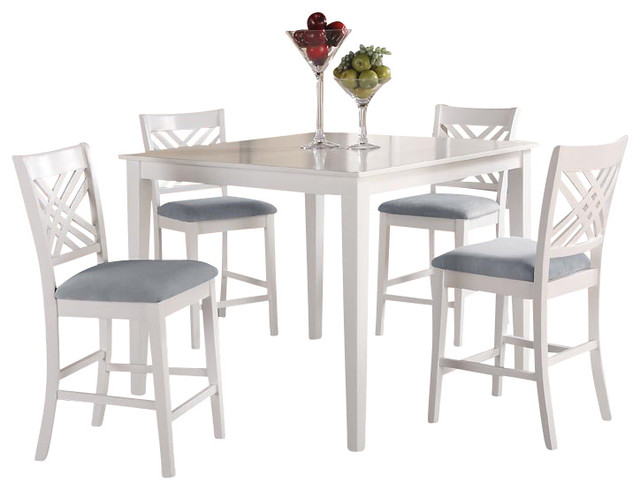 Standard Furniture Brooklyn White Square Counter Height Table With 4 Chairs