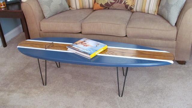 Surfboard coffee table beach style coffee tables for Surfboard coffee table