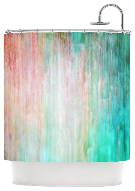 Iris Lehnhardt Color Wash Teal Blue Turquoise Shower Curtain Contemporary Shower Curtains