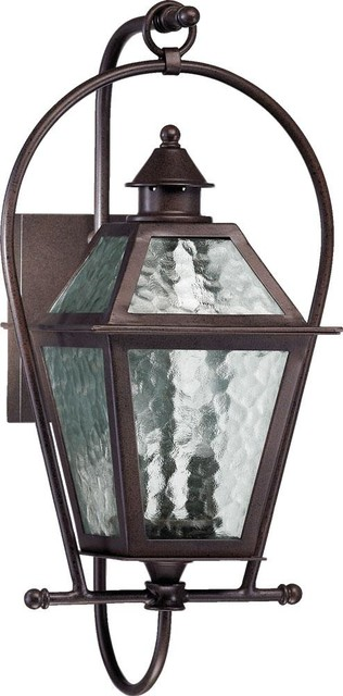 Storm Lantern Wall Lights : Two Light Oiled Bronze Clear Hurricane Glass Wall Lantern - Transitional - Outdoor Wall Lights ...