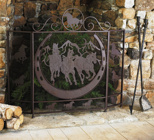 Running Horses Fireplace Screen Eclectic Fireplace Screens Other Metro By Lone Star