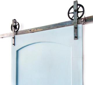 Industrial Spoked European Slide Door Hardware Set - Industrial - Barn Door Hardware - by White ...