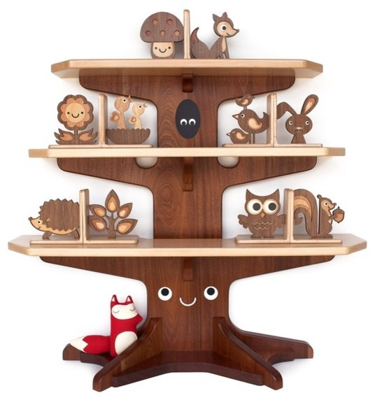 Happy tree bookshelf with four wood animal bookends by for Tree of life bookshelf