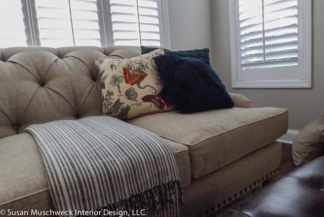 Throw pillows and blanket transitional living room - Living room throw blankets ...