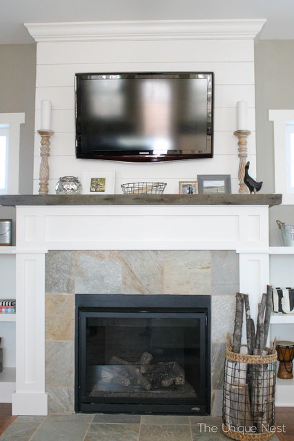 Shiplap Fireplace with Reclaimed Mantle - Beach Style - Other - by ...