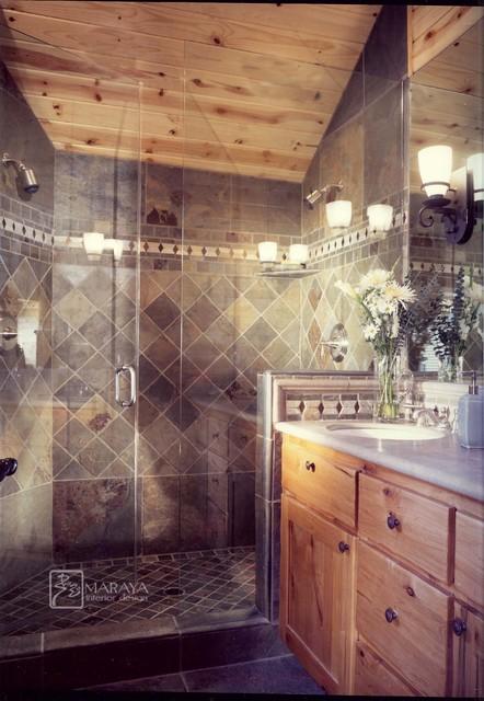 Slate shower rustic bathroom other metro by maraya for Slate bathroom design