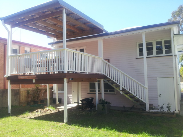 Brisbane flyover patio roof insulated and second story for 2 story decks and patios