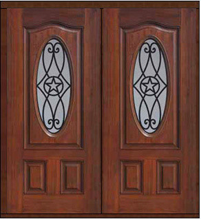 Prehung Double Door 80 Fiberglass Austin Texas Star Oval Lite Traditional
