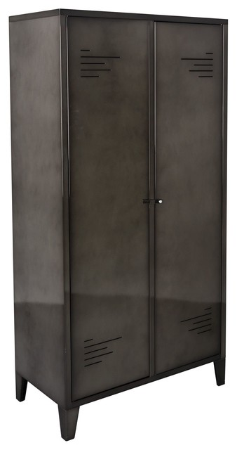 lofter armoire 2 portes en m tal gris contemporain. Black Bedroom Furniture Sets. Home Design Ideas