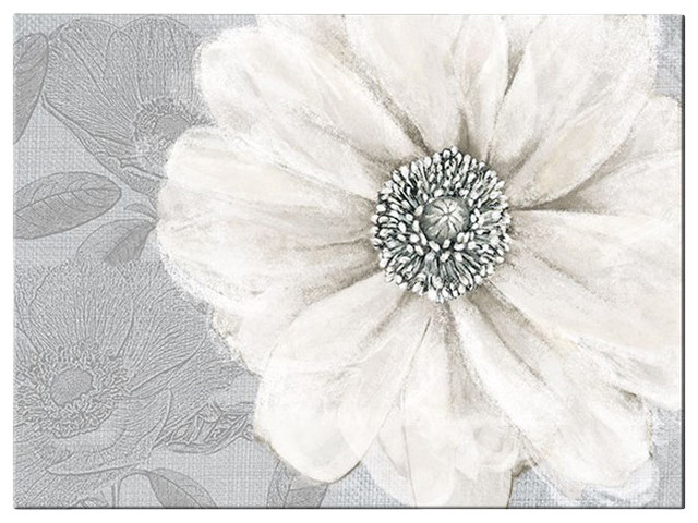 Grey Bloom Canvas Wall Art Contemporary Artwork By