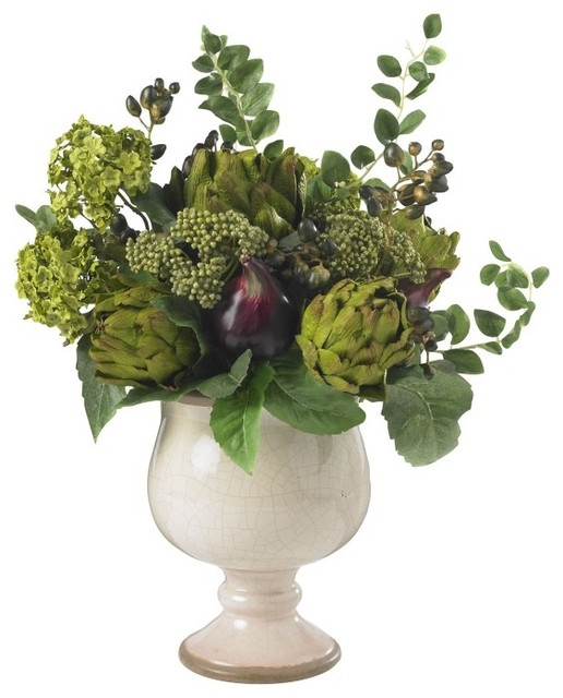 Artichoke and hydrangea silk flower arrangement green