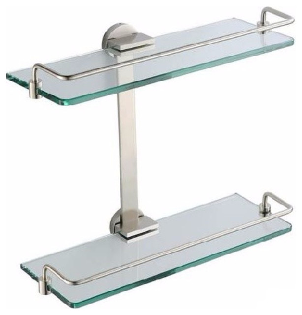 fresca 2 tier bathroom glass shelf brushed nickel transitional bathroom cabinets and