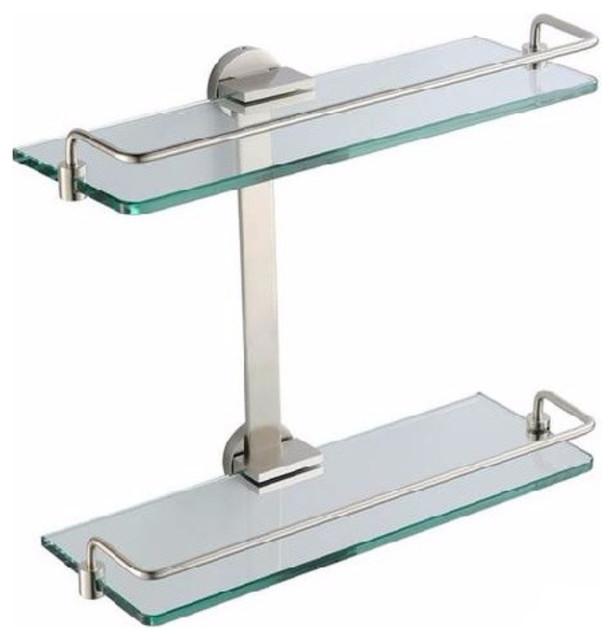 Brushed Nickel Bathroom Floor Shelf : Fresca tier bathroom glass shelf brushed nickel
